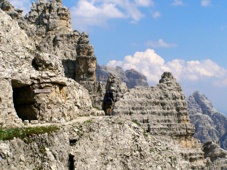 Via ferrata in the Dolomites Mountains of Italy - WW1 tunnels