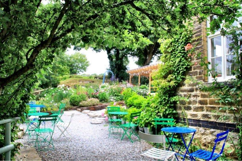 Miller's Dale Station - Monsal Trail cafe garden in Derbyshire England