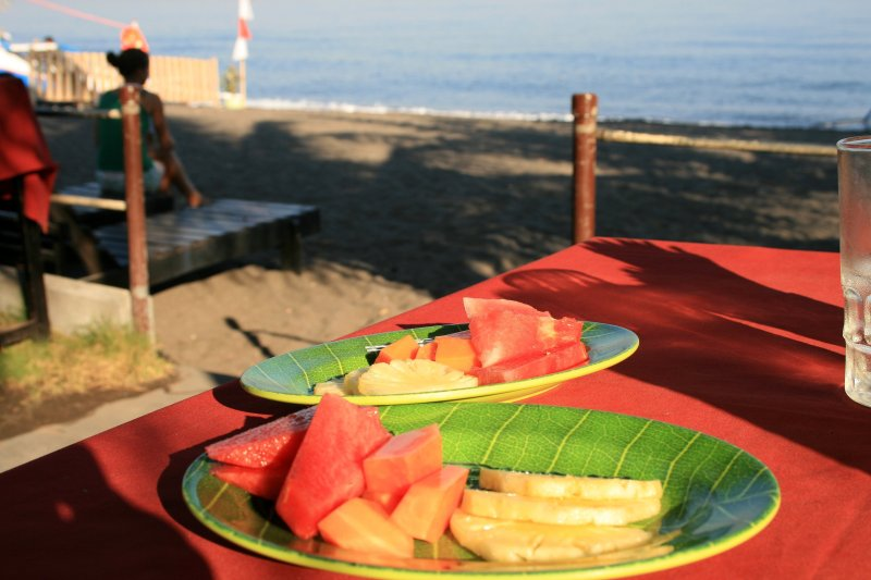 Fresh tropical fruit on the beach at Bali resorts