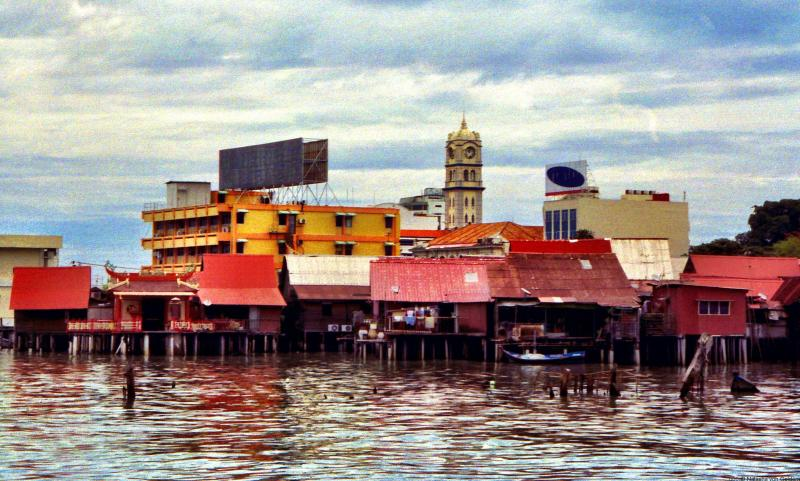 Stilt village over the water in Penang Malaysia