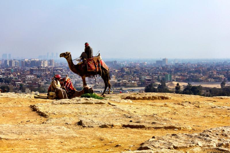Camel rider and Cairo from Giza Egypt