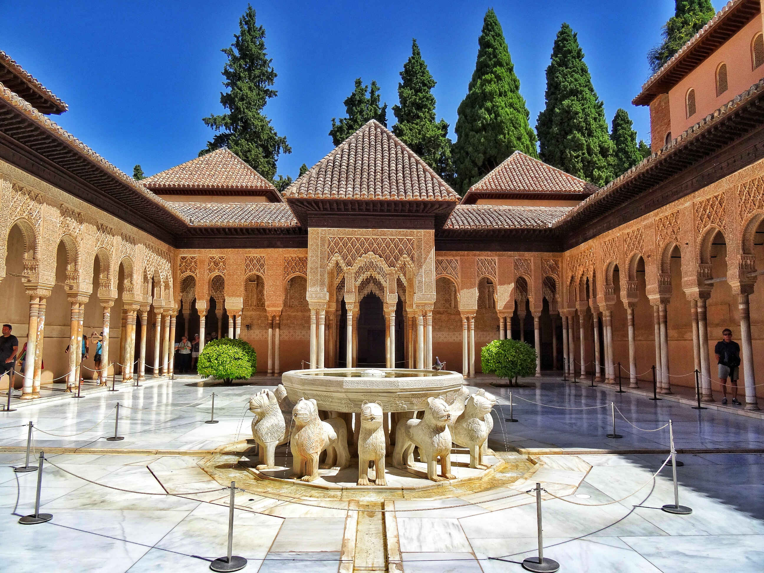 the alhambra palace Another, on the opposite side of the darro valley, is crested by the fortified walls and ramparts of the alhambra up on the hill and within the walls of the alcazar, the mexuar palace is.