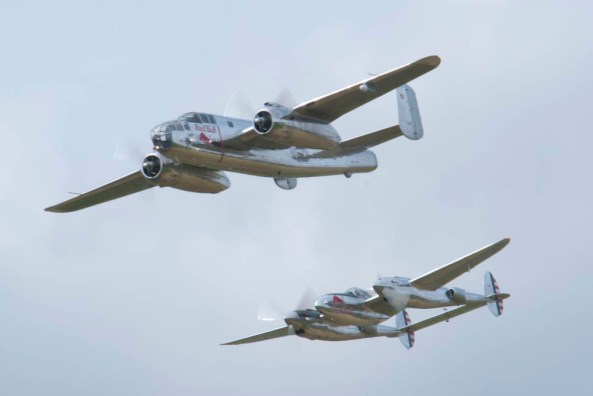 North American B-25J Mitchell N6123C & Lockheed P-38L Lightning N25Y - 01 Flying Legends 2015