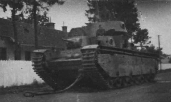 Tank T-35 abandoned by its crew due to a malfunction ...