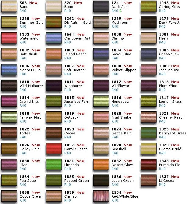 Sulky Thread Chart Embroidery Color