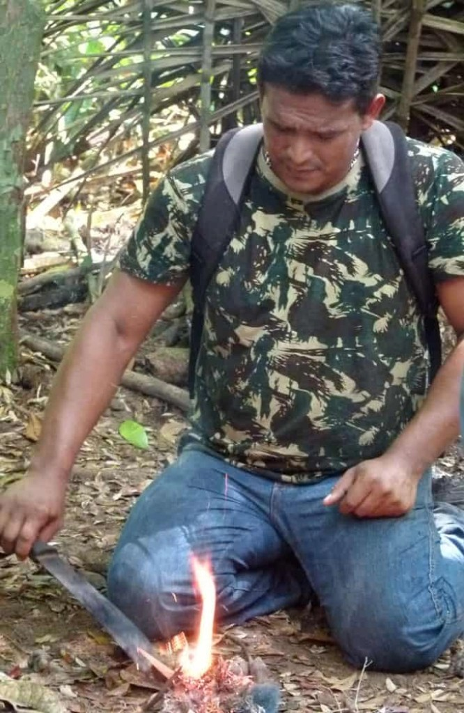 Making fire in the jungle