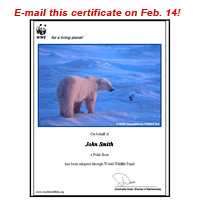 E-mail a personalized adoption certificate on Feb. 14!
