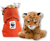 Tiger plush with Trick or Treat gift bag