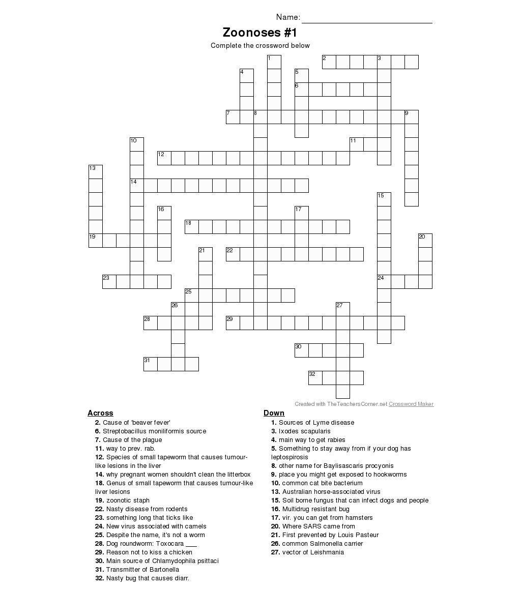 Zoonoses Crossword