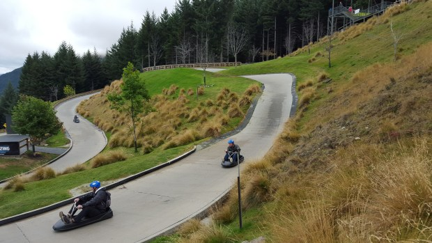 Riding luge carts down the mountain | Queenstown | South Island | New Zealand