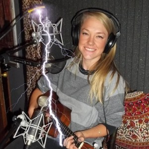 Brittany Straw and her ukulele on the Worst Little Podcast