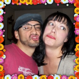 John Frederick and Ashley Marie James making faces