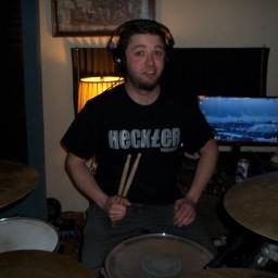 Dave Masud behind the drums