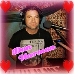 """Dan Harmon"" with hearts around him, keyboard for The Hunt Club"