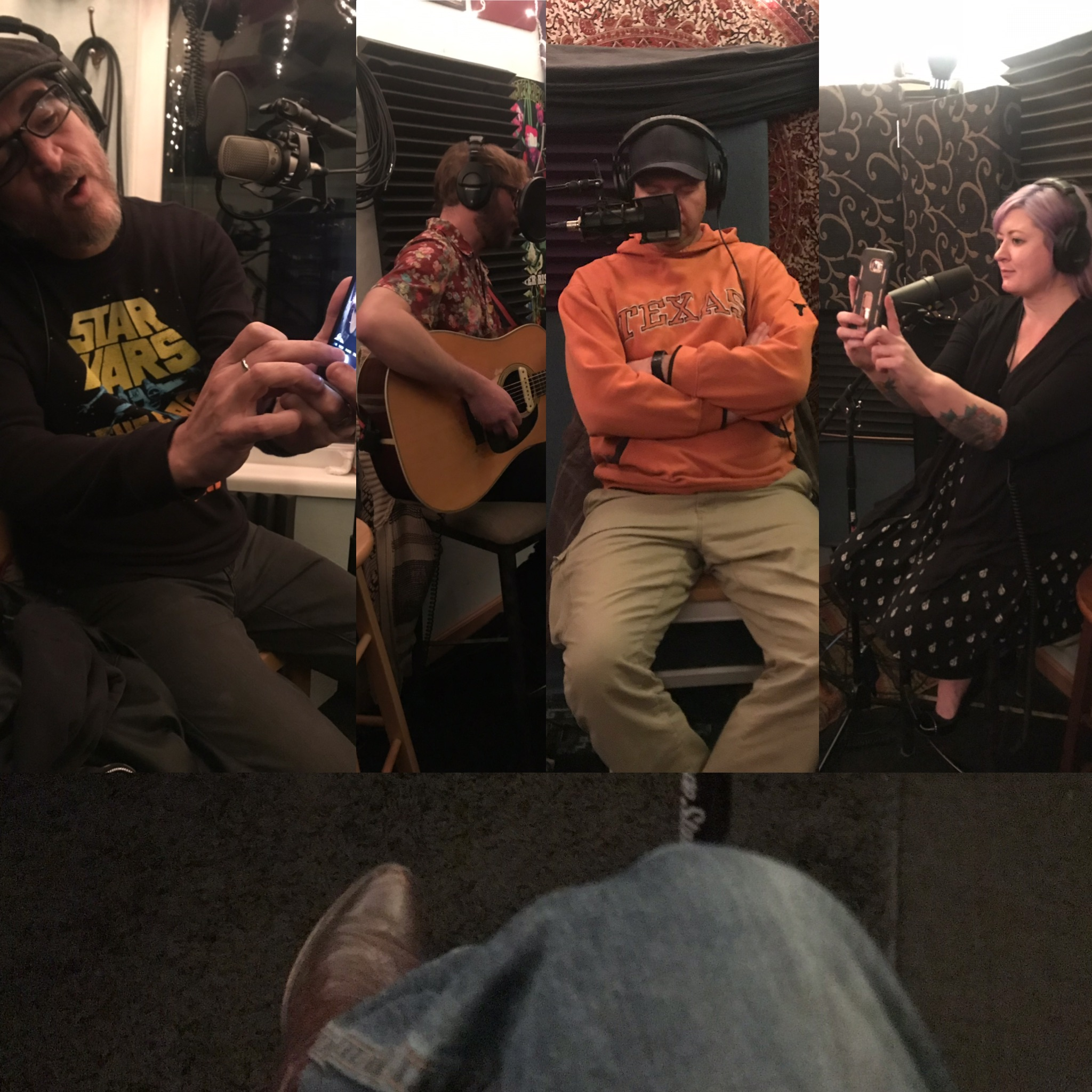 collage picture featuring (left to Right) Nick Ramirez taking a photo with his phone, Bryan jones playing guitar, Chewie with his eyes closed and Kim taking a video with her phone, underneath them al is a picture of Reverend ROry's Knee and cowboy boot
