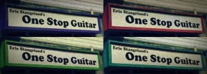 Signage for Eric Stangeland's One Stop Guitar