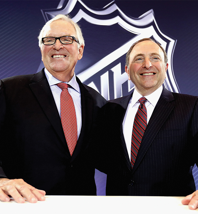 Bill Foley and Gary Bettman after announcing the Las Vegas NHL franchise on June 22, 2016