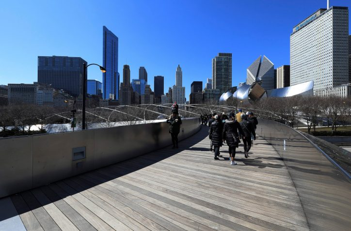 Downtown Chicago viewed from architect Frank Gehry's BP Pedestrian Bridge over Columbus Drive. Photo by Raymond Boyd/Getty Images