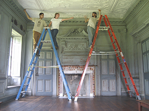 Plaster students working at Drayton Hall. American College of the Building Arts. Charleston S.C