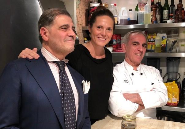 Gianfranco Sorrentino (left) and his wife and manager Paula Bolla-Sorrentino with Il Gattopardo executive chef Vito Gnazzo.