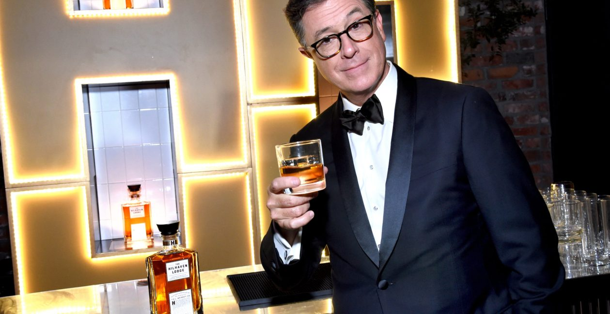 Stephen Colbert extends a toast with the storied Hilhaven Lodge Whiskey