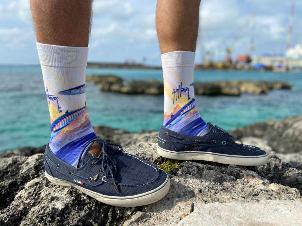 Dad can up his sock game this summer with marine-inspired designs from Guy Harvey. Photo courtesy of Guy Harvey