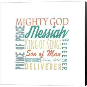 Names of Jesus Square Green and Orange Text - White by Inspire Me Canvas Art