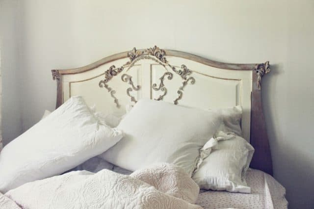 Crib headboard transformed into a shabby chic French beauty