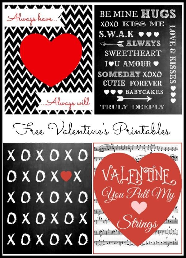 Valentine printables collage