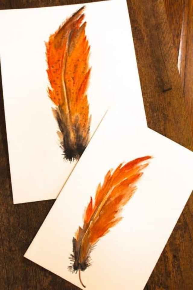 DIY Watercolor Feathers