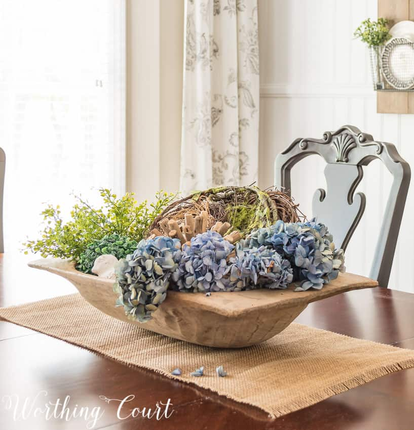 How To Layer And Fill A Large Dough Bowl   Worthing Court Place dried hydrangeas in a dough bowl