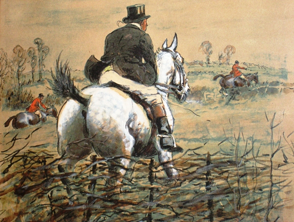 "... equestrian print by the British artist Charles ""Snaffles"" Johnson"