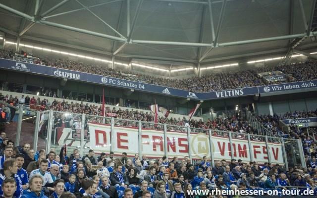 Mainzer Fans in der Arena auf Schalke. (Foto: Rheinhessen on Tour)
