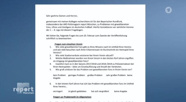 Auszüge aus der Anfrage an die Vereine (Screenshot).