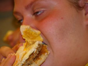 obese lady eating