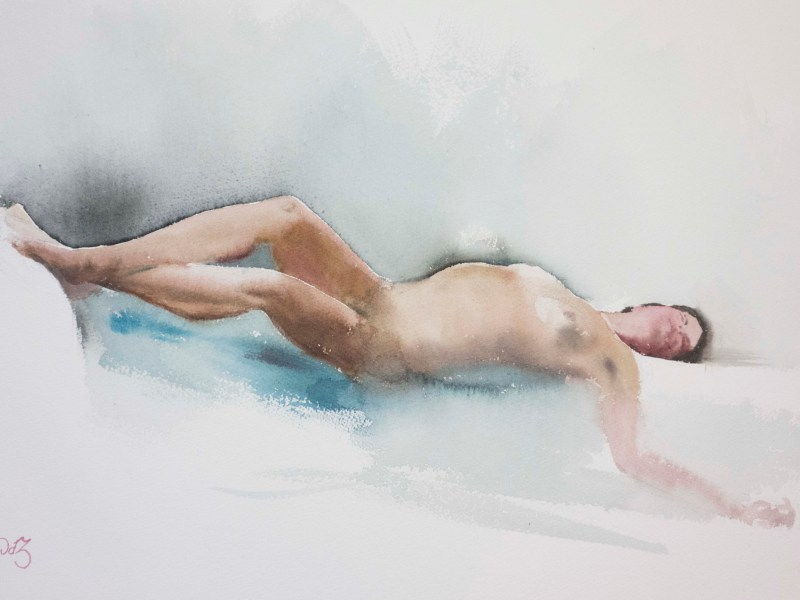 "Reclining nude, watercolor, 22x15""."