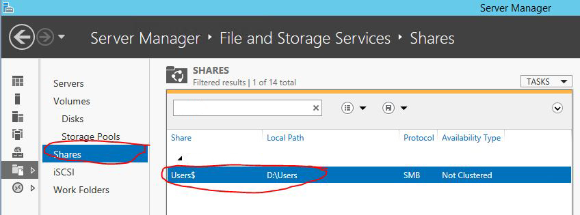 Create User folders in Windows Server 2012 R2 and add them to Active