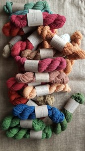 Dyed skeins of Southdown Yarn