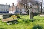 Bei Sonnenschein und mit Frühlingsblumen schaut selbst ein Friedhof irgendwie fröhlich aus