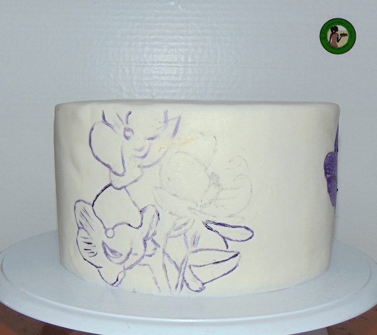 hand painted cake outlining