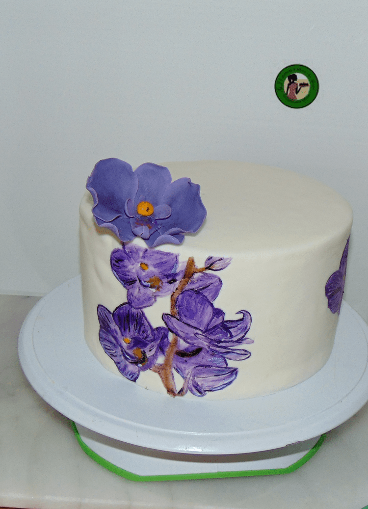 hand painted cake one orchid