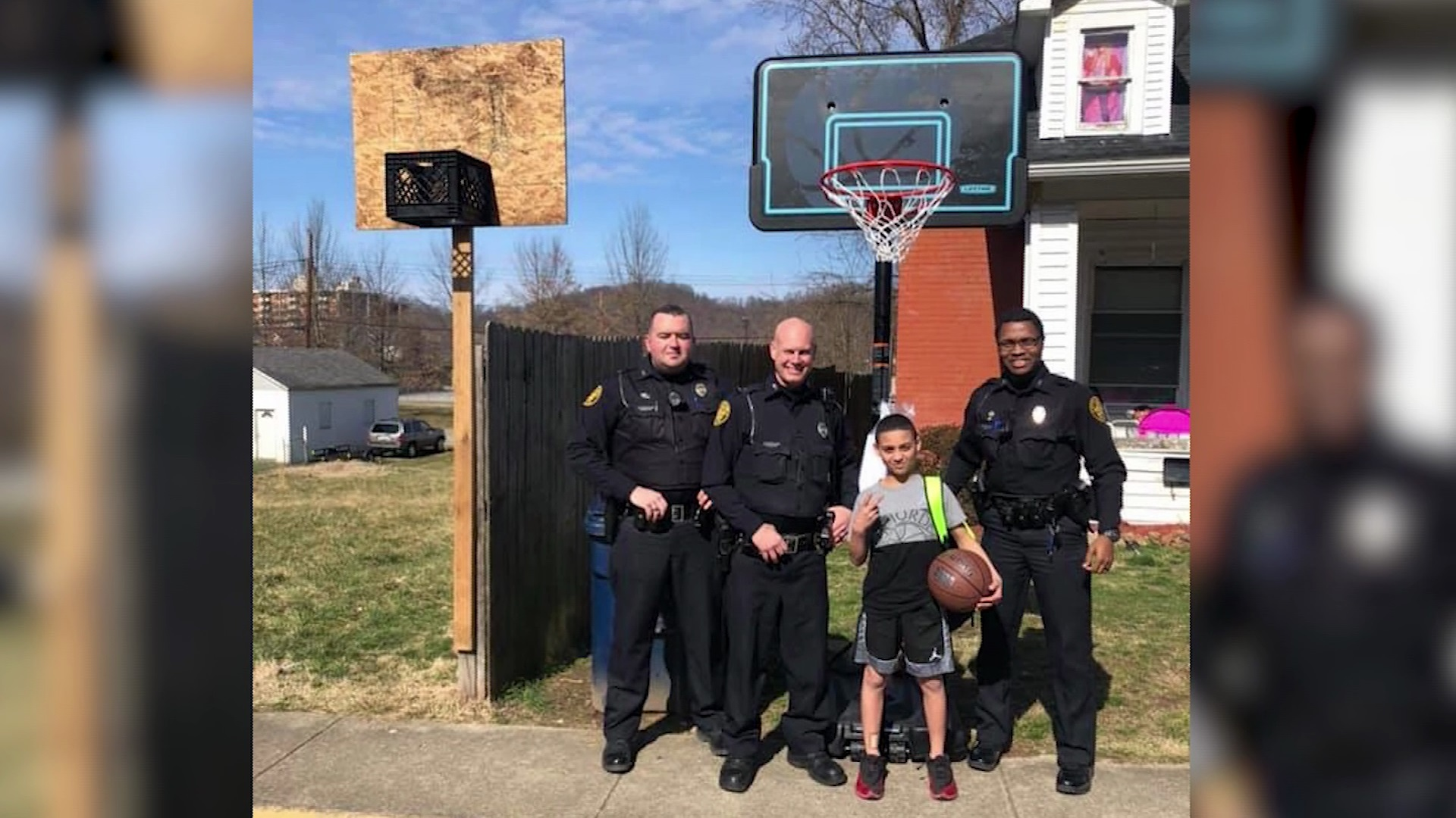 Ashland Police Help Get Local Boy New Basketball Hoop