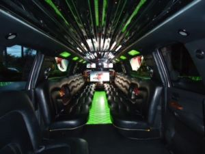 Interior green escalade limo photo