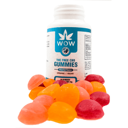 gummies in a pile in front of the bottle