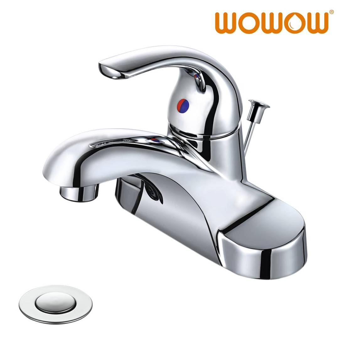 wowow 4 inch centerset single handle bathroom faucet in chrome