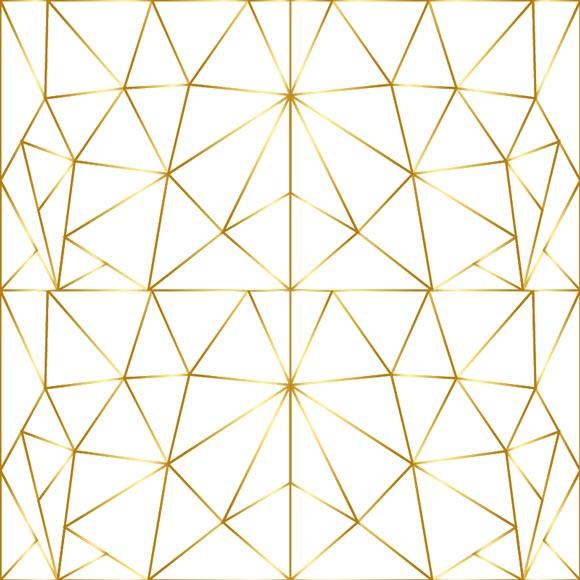 mosaic tile line art gold triangle