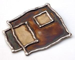 Srebrny broszko-wisior Kwadraty Przesunięte