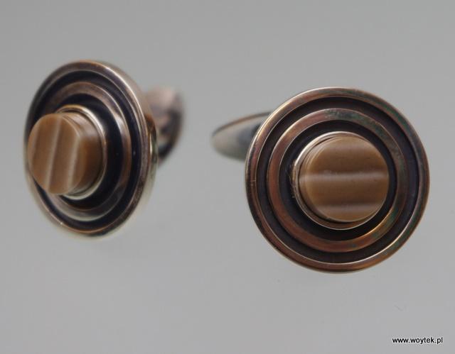 Srebrne spinki mankietowe Koła z krzemieniem pasiastym