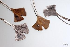 Srebrna broszka Ginko długie z cyrkonią