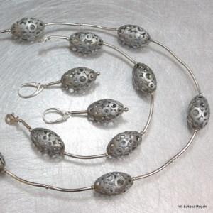 Srebrny komplet Jajka pełne lub ażurowe, elektroforeza